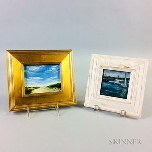 Two Small Contemporary Paintings of Nantucket:    Sharon Woods Hussey (American, b. 1949), Late Afternoon
