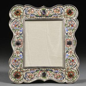 Russian Gem-set and Cloisonné-enameled .875 Silver Frame