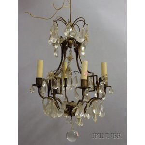 Small Four Light Louis XV Style Brass and Glass Chandelier.