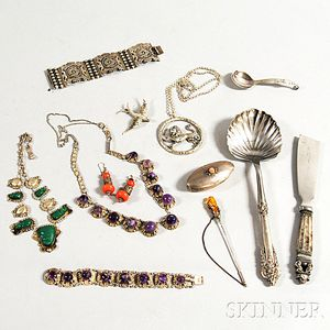 Small Group of Silver Flatware and Jewelry