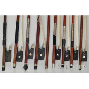 Eight Bows and One Bow Stick, Various Makers and Mounts.