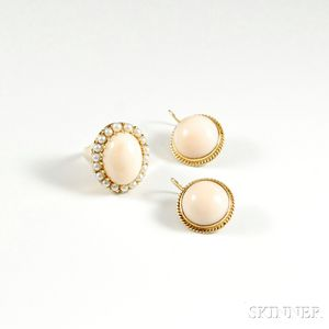 14kt Gold and Angelskin Coral Ring and Earpendants