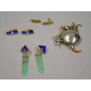 Three Pairs of Modern Santa Fe Artist-Designed 14kt Gold Earrings and a Modern   Artist-Designed Silver, Gold and Gem-set Brooch,