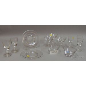 Group of Steuben-type Colorless Glass Tableware