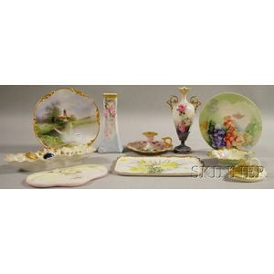 Ten European Floral and Scenic Hand-painted and Transfer-decorated Porcelain Items