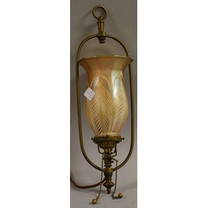Quezal Iridescent Pulled Feather Art Glass Shade with a Brass Hanging Fixture