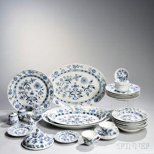 Assembled Blue Onion Pattern Porcelain Dinner Service