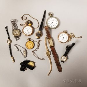 Collection of Twelve Wrist and Pocket Watches