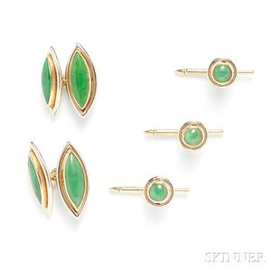 14kt Bicolor Gold and Jade Dress Set