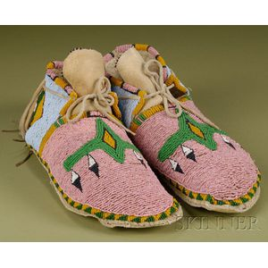 Plains Beaded Hide Moccasins