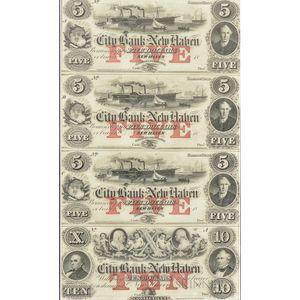 Framed Uncut Sheet of Four City Bank of New Haven $5 Remainder Notes.     Estimate $200-300