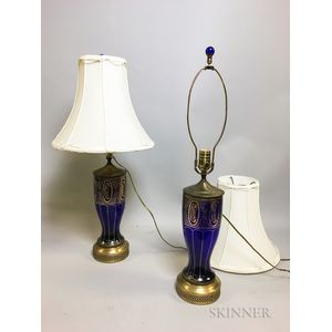 Pair of Gilded Cobalt Glass Table Lamps