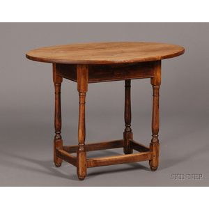 Oval Scrubbed-top Pine Table
