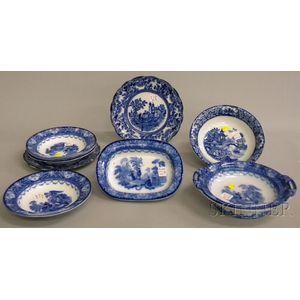 Nine Pieces of English Blue and White Transfer-decorated Tableware