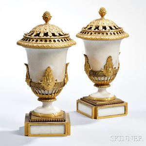 Pair of Empire Ormolu-mounted Marble Brûle-Parfums