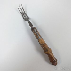 Early Continental Carved Wood and Steel Fork