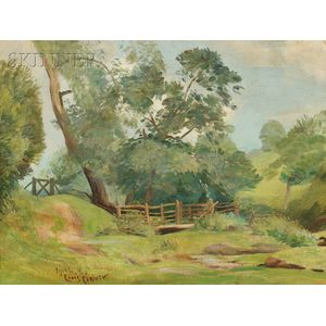 Attributed to Lovis Corinth (German, 1858-1925)      Verdant Landscape with Split Rail Fence