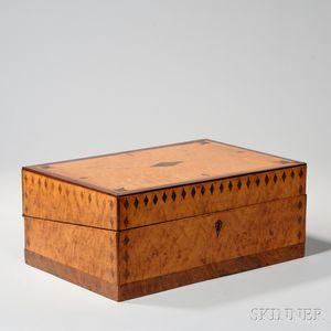 Maple and Hardwood Inlay Folding Desk