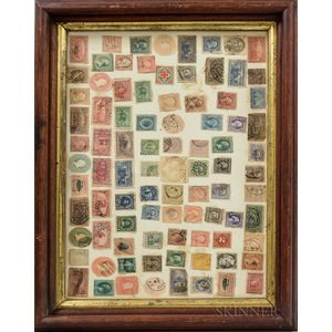 Framed Group of Early Cancelled Stamps