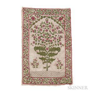 Mughal Embroidered Prayer Rug Mughal Embroidered Prayer Rug