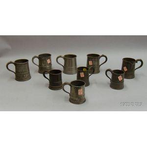 Nine Assorted Mostly British Pewter Measures.