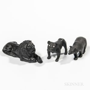 Three Wedgwood Black Basalt Animals