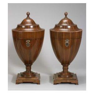 Pair of Georgian-style Mahogany and Inlay Cutlery Urns
