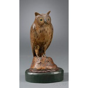 Enoch Benner Carved and Painted Wooden Owl Figure