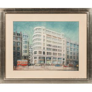 British School, 20th Century      Architectural Watercolor Drawing:   Modernist Building on a London Street
