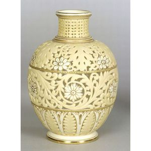 Grainger & Co. Worcester Porcelain Reticulated Vase