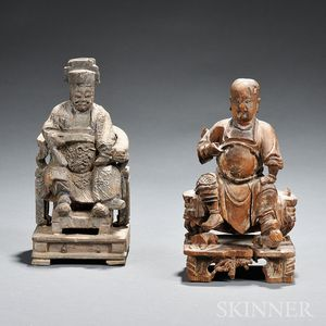 Two Wood Carvings of Seated Men