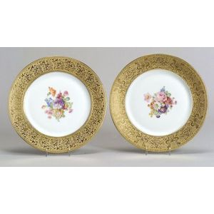 Assembled Set of Ten Gilt and Floral Transfer Decorated Bavarian Service Plates.
