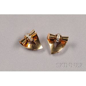 Pair of Retro 14kt Gold and Diamond Dress Clips