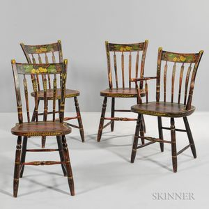 Set of Four Grain-painted and Stencil-decorated Fancy Chairs