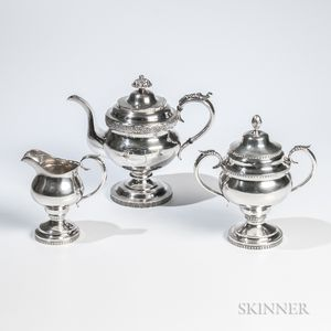 Assembled Three-piece American Coin Silver Tea Service