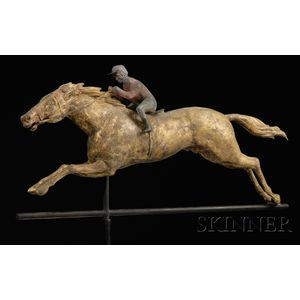 Copper and Cast Zinc Horse and Jockey Weather Vane