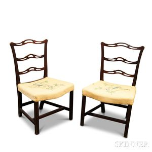 Pair of Chippendale Mahogany Ribbon-back Side Chairs