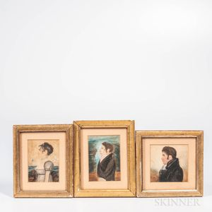 Alpheus Chapin (Massachusetts, 19th Century), Three Miniature Portraits: Horrace Billings Chapin, Sophia Chapin, and a Self Portrait, I