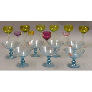 Group of Colored and Colorless Glass Tableware