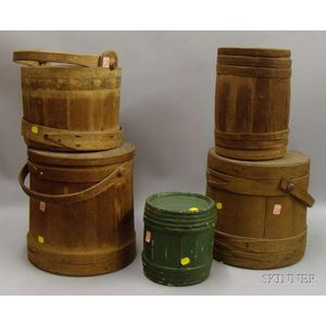 Two Wooden Firkins with Covers, a Pail, Keg, and a Small Green-painted Keg.
