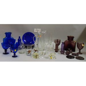 Large Group of Mostly Colorless and Colored Glass Items