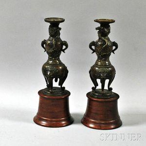 Pair of Bronze Candleholders