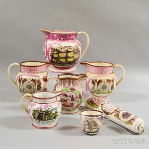 Seven Staffordshire Pink Lustre Transfer-decorated Table Items