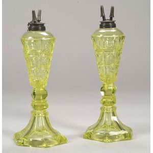 Pair of Yellow Pressed Four-Printie Block Glass Fluid Lamps