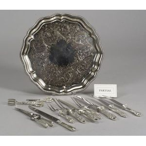 Twenty-seven Assorted Sterling Silver and Silver Plated Flatware Serving Pieces and   Two Trays
