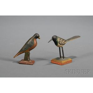 Two Pennsylvania Carved and Painted Wooden Bird Figures
