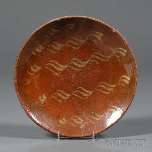 "Redware Plate with Yellow Slip ""Bacon Strip"" Decoration"