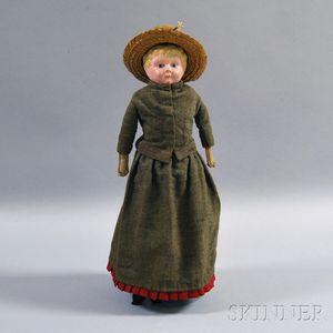 German Painted Metal Shoulder Head Doll
