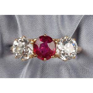 Antique Ruby and Diamond Three-Stone Ring