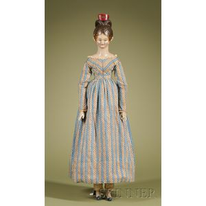 Important Portrait-type Carved Wood Doll
